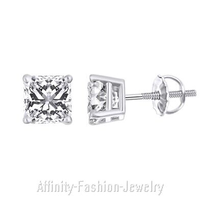 Solid 14K White Gold 2.0 Ct Princess Cut Solitaire Stud Earrings Screw Back