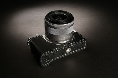 Genuine Real Leather Half Camera Case Bag Cover for Canon EOS M100
