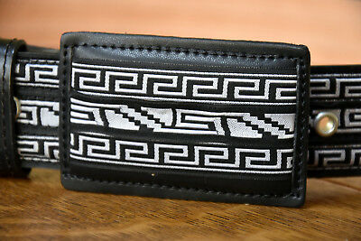 New Black Western style leather belt with Fine cloth Geometric Patterns
