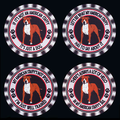 4 x AMERICAN STAFFORDSHIRE TERRIER DOG DRINK COASTERS, FOUR DIFFEREY WASHABLE -