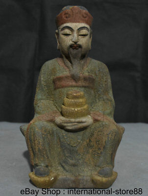 "9.6"" Old China Wood Carving Feng Shui Seat Mammon Money Wealth God Luck Statue"