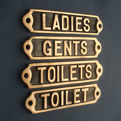 Bronze Toilets/Ladies/Gents Toilet Signs Old Pub Door Toilet Signs Quality Made