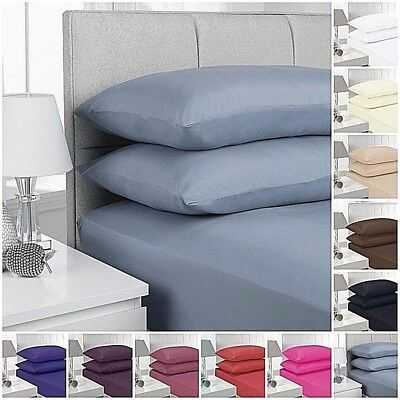 Smooth & Comfy Pure Poly Cotton Fitted Bed Sheet with Pillow Case Pair