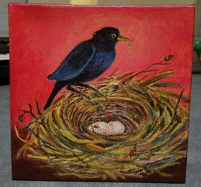 Rare Black Bird Bluejay & Nest Oil Painting Estate Find Signed Ab Stringfellow