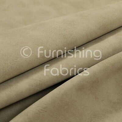 Aged Finished Matt Leather Leatherette Suede Beige Vinyl Upholstery Fabric