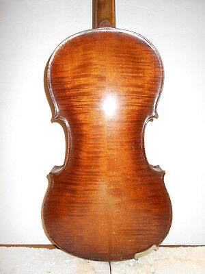 "Old Antique Vintage ""Glass"" 2 Pc. Back Full Size Violin - No Reserve"