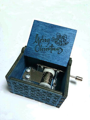 Merry Christmas Engraved Wooden Music Box interesting Collectible Toy Xmas Gifts