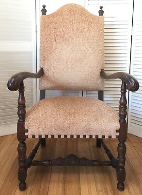 French Vintage Light BrowThrone Arm Chair Highly Carved with Decorative Nails
