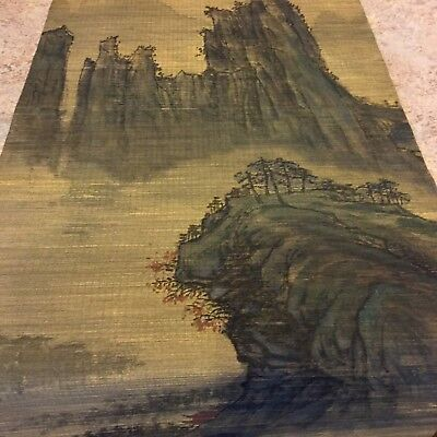JAPANESE HANGING SCROLL ART Painting  Landscape Asian antique #2