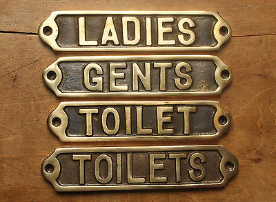 Gents / Mens Ladies / Womens & Toilets Door Signs Old Antique Old Brass Style