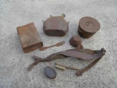 WW1 RELIC LOT French Canteen Cup CAN Gas Mask Mess kit Y strap FRANCE