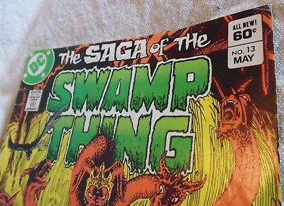 1¢ STARTING AUCTION 1983 #13 THE SAGA OF THE SWAMP THING 60¢ Comic PG1 INK ERROR