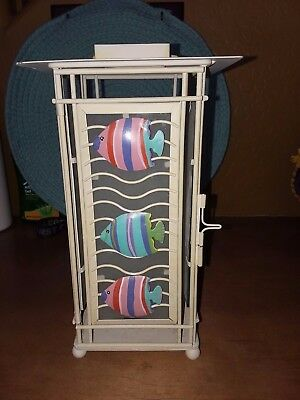 Multicolored metal tropical fish candle lantern for hanging or tabletop