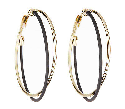 Clip On Hoop Earrings Bevin Moderate Cost Gold Plated Hoops With Clear Crystal Stones