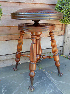 Antique Victorian 19th Century  Carved Walnut Stool/ Leather Seat  by O P.C Ltd