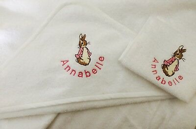 Personalised Embroidered Hooded Baby towel Peter Flopsy Rabbit Baby shower