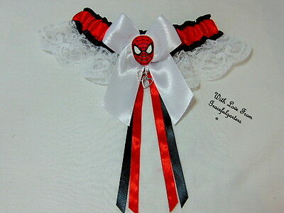 Spiderman Lace  Bridal Wedding Garter. Marvel. Peterparker.