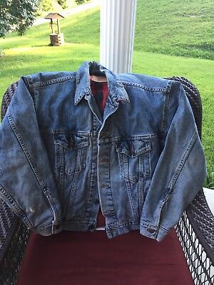 VTG 80s LEVIS DENIM BLUE JEAN FLANNEL LINED TRUCKER JACKET Sz M
