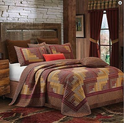 Log Cabin RED Lodge Printed QUEEN Quilt Set Rustic Primitive Country Style