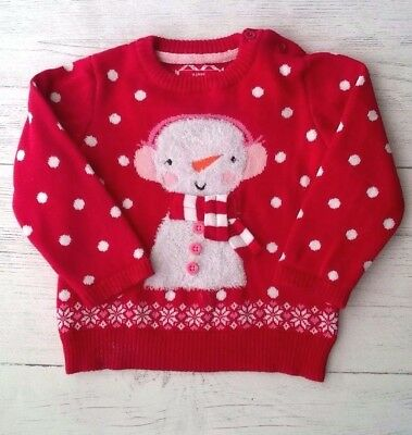 Baby Girls Christmas Cotton Jumper with Snowman 6-9 months