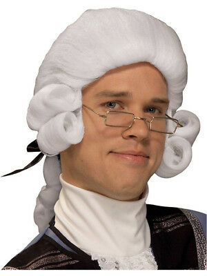 Mens White Colonial Settler English Governor Judge Wig