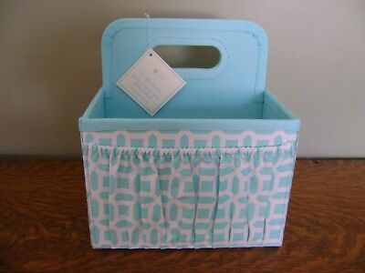 Pottery Barn Kids Aqua Blue Geo Nursery Storage Caddy ~ NEW