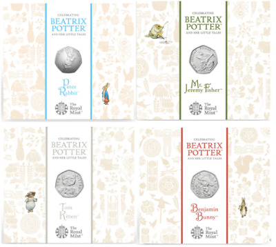 Beatrix Potter 2017 UK 50p Four Coin Set