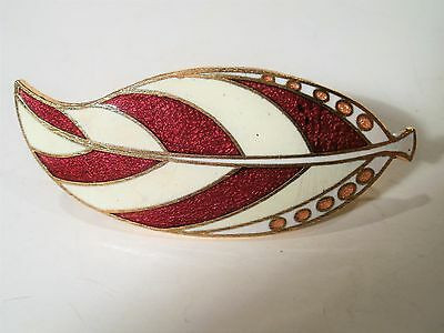 Vintage Gold Tone Feather Design Brick Red/Gold/White Enamel Scarf/Dress Clip