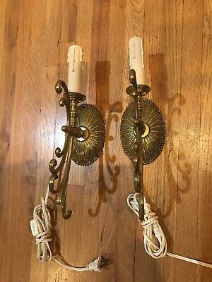 Pair of old Vintage Brass Wall Light Sconces