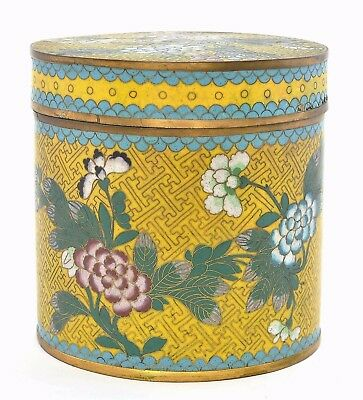 1930's Chinese Yellow Ground Gilt Cloisonne Enamel Flower Tea Caddy Jar Box