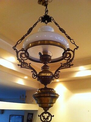 ANTIQUE VINTAGE BRASS CHANDELIER HANGING LAMP LIGHT WITH WHITE OPALINE SHADE.37h