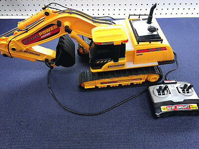 vintage New Bright Caterpillar Excavator Power Horse Cat Wired control