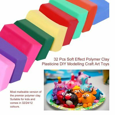 32 Color Oven Bake Polymer Clay Modelling Moulding  Block DIY Educational Toys
