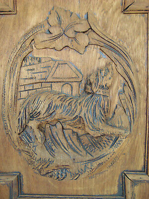 Antique French Carved Oak Door Panel Dog Hunting Motifs Chasse Wooden Door