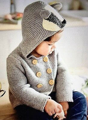 NWT 3-6M Mini Boden Gray Hooded Badger Knitted Jacket Boy or Girl Animal