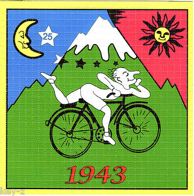 Hofmann Bike Ride 1943   -  LSD BLOTTER ART perforated psychedelic acid free