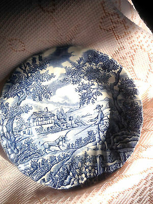 "Blue And White Dish "" The Hunter "" -Good Condition"