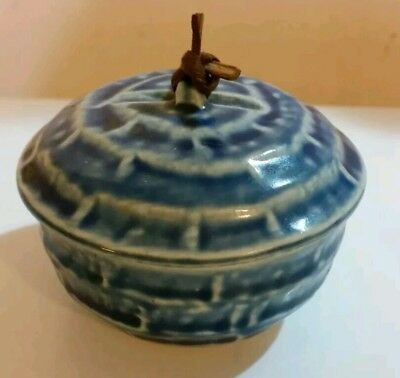 MARKED Vintage blue JAPANESE DONABE POTTERY HOT POT/ LIDDED TEA BOWL/ PASTE BOX