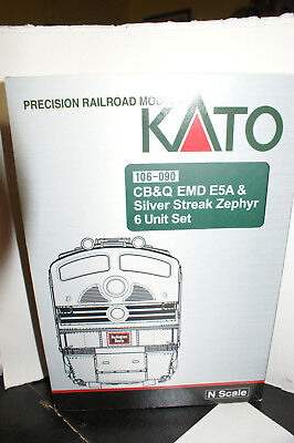 KATO 106-090 CB&Q EMD E5A Silver Streak Zephyr 6 Unit set - USED - DCC chipped