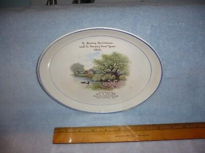 Antique  1915 CALENDAR PLATE Advertising new tripoli     Pa.  miller merry xmas