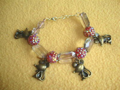 Handmade Mouse Charm and Beads Bracelet from Petrats