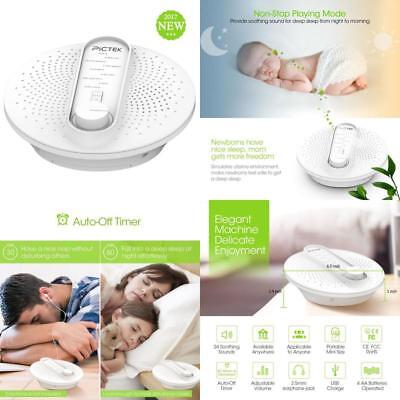 Pictek White Noise Machine, 24 Soothing Sleep Therapy Sound Machine With Playing
