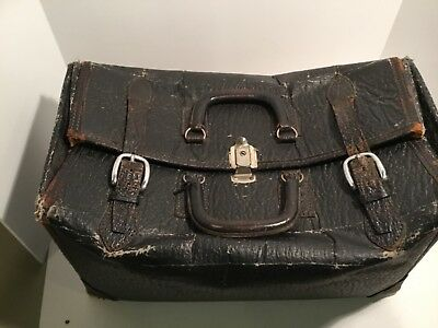 Vintage Doctors Bag, Leather Buckle & Straps Houndstooth Fabric Lining
