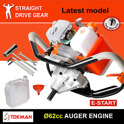62CC TDKMAN Petrol Post Hole Digger Motor Engine Earth Auger Fence Borer Bit