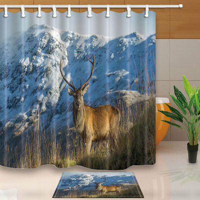 Deer And Snow Mountain Shower Curtain Bathroom Fabric 12hooks 7171inches