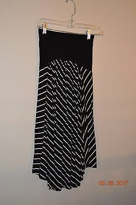 Motherhood Maternity Over The Belly Size Small Black & White Striped Skirt
