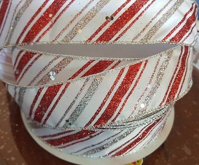 3metres X 38MM Premium Wire Edge One Sided Glitter Sparkly Ribbon for Christmas