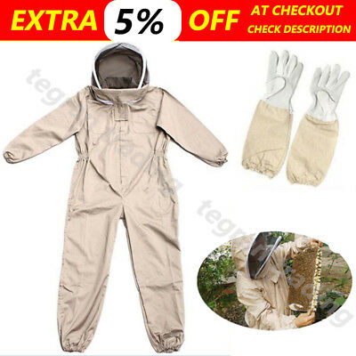 Beekeeping Suit Bee Suit w & Leather Ventilated Keeping Gloves