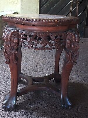 Antique Chinese Intricately Carved Wood and Marble Top Table / Stand