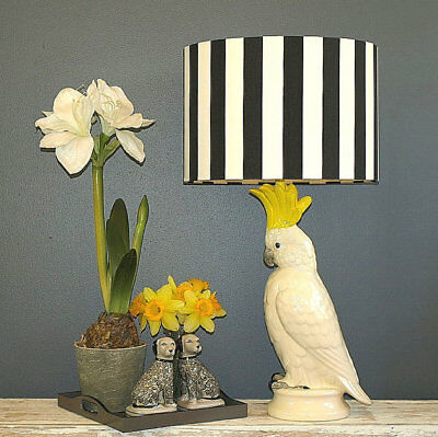Aus Made Lampshade Black/White Drum 2 sizes, 2 Fittings Made to Order 1-2 weeks